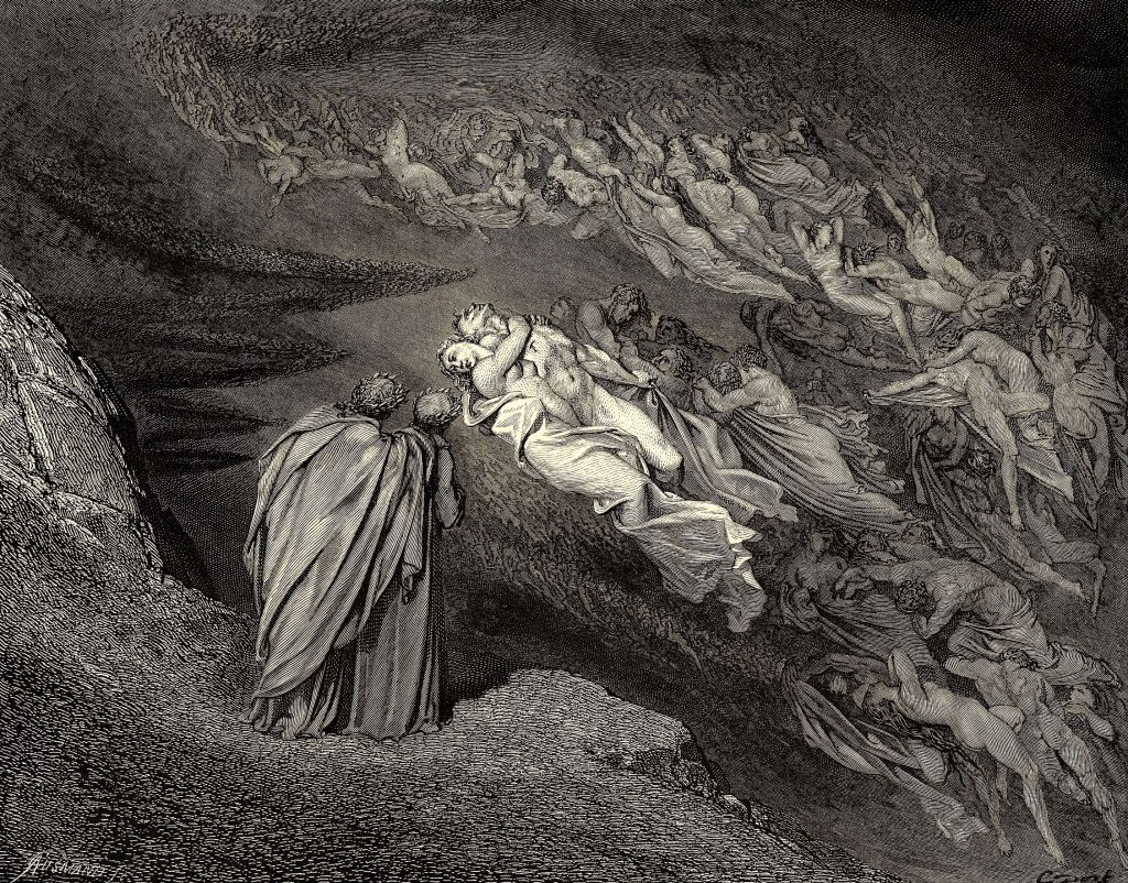The Inferno, Canto 5, lines 105-106: 'Love brought us to one death: Cain awaits The soul, who spilt our life.' Gustave Dore.