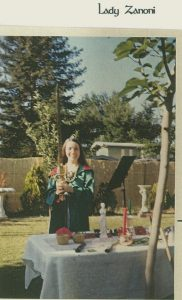 Zanoni Silverknife, then known as Lady Persephone, circa 1973 in the outdoor ritual space of the Georgian Covenstead, in Bakersfield, California